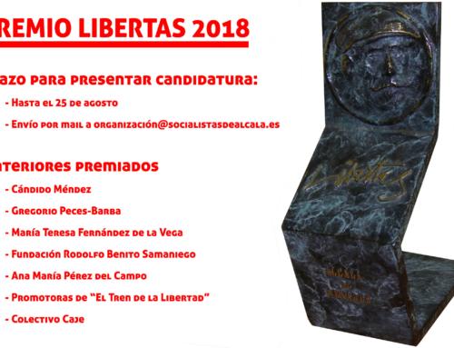 El PSOE de Alcalá abre el plazo de propuestas al Premio Libertas 2018