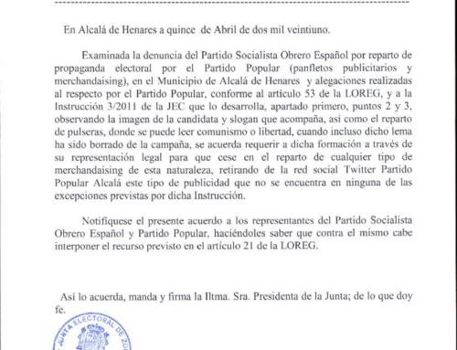 La Junta Electoral obliga al PP de Alcalá de Henares a anular sus repartos publicitarios y a retirar toda la propaganda de campaña que había publicado en redes sociales.