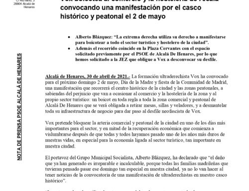 Vox boicotea al comercio y la hostelería de Alcalá convocando una manifestación por el casco histórico y peatonal el 2 de mayo