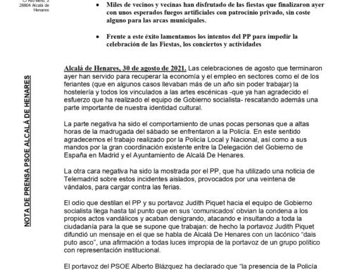 El Verano en Fiestas de Alcalá De Henares ha sido un éxito frente al intento de boicot del PP