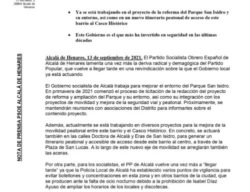 El PSOE de Alcalá trabaja para mejorar el entorno del Parque San Isidro y la seguridad en el barrio