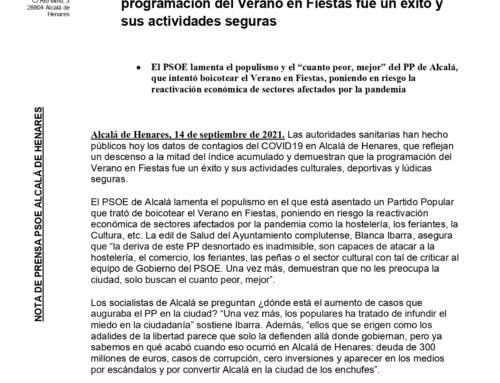 Alcalá de Henares rebaja sus cifras de contagio del COVID19 a la mitad y demuestra que la programación del Verano en Fiestas fue un éxito y sus actividades seguras